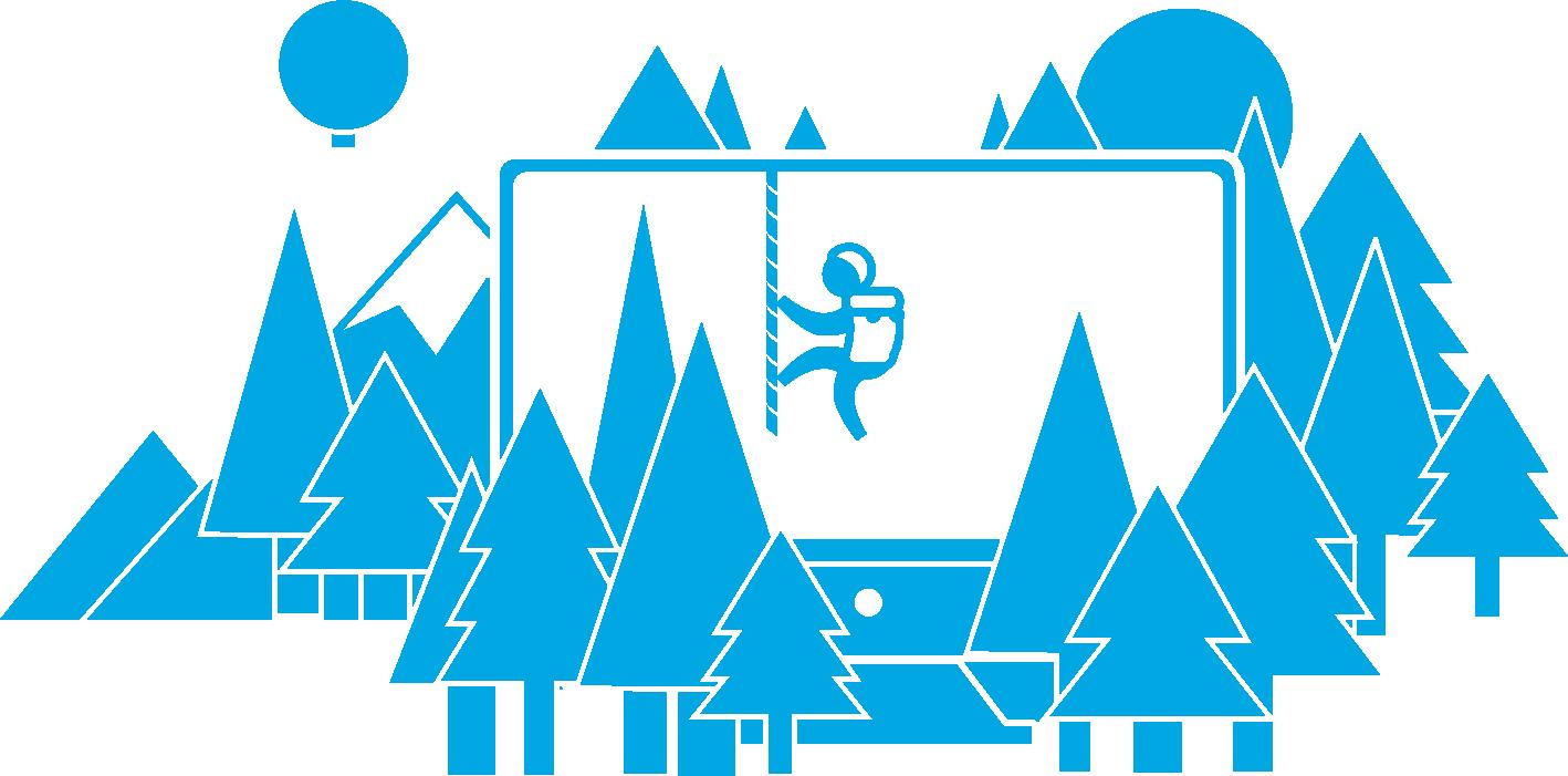 Computerbildschirm in einem Wald