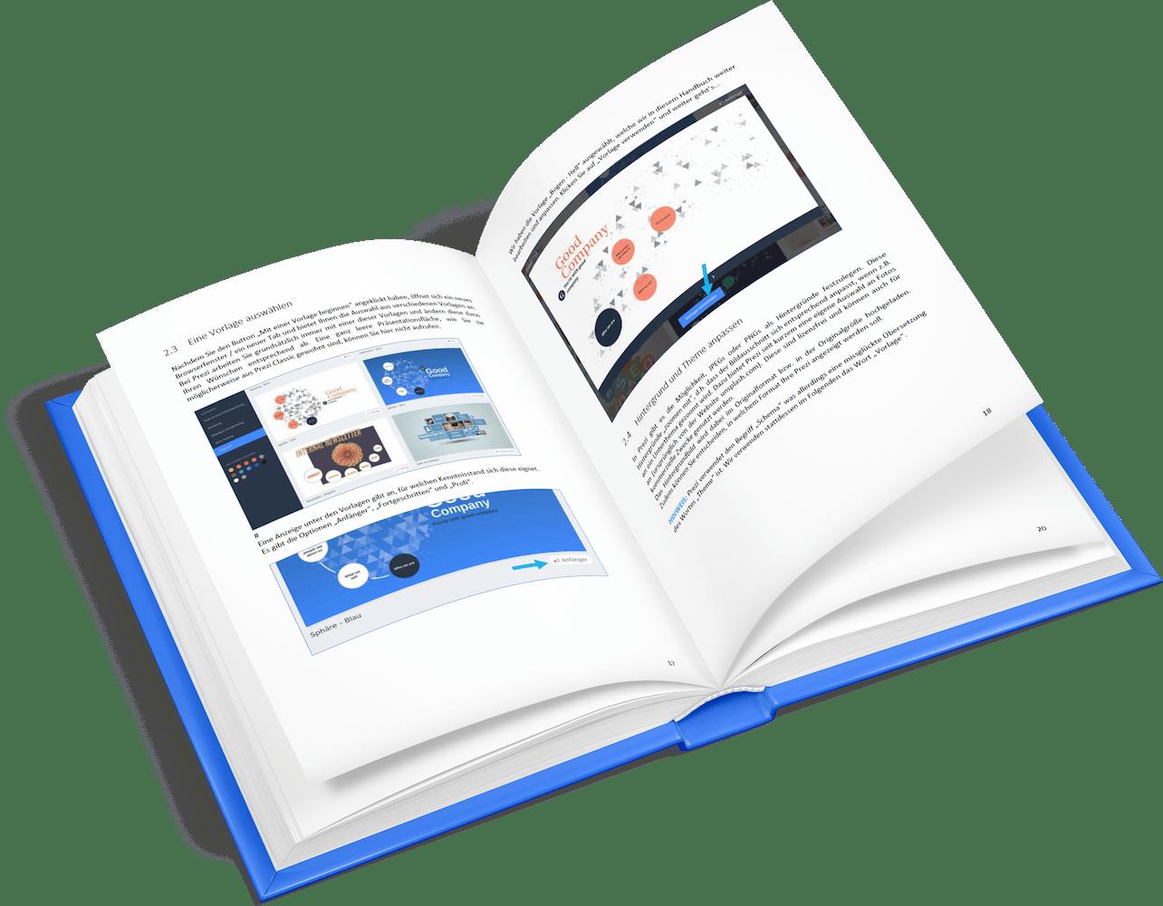Prezi Present Handbuch aufgeschlagen