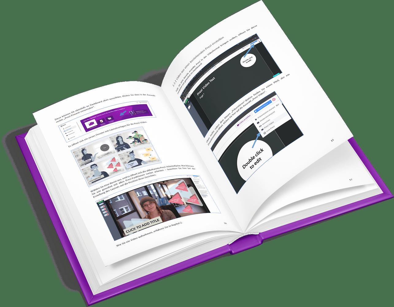 Prezi Video Handbuch aufgeschlagen